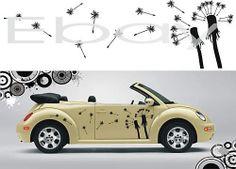 VW Beetle Art Flowers Seed Car Vinyl Decal Stickers Kit