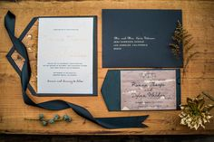 Cork and gold foil wedding invitation suite and save the date.