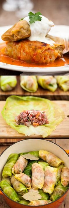 Russian Cabbage Rolls stuffed with extra lean beef, rice and veggies and baked in a creamy tomato sauce. Healthy comfort food. mmmm
