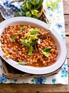 Borlotti bean pasta (pasta e fagioli) Sbs Food, Pasta E Fagioli, Lentils, Chickpeas, Food To Make, Making Food, Bean Recipes, Fresh Basil, How To Cook Pasta