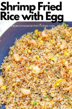 Easy Shrimp Fried Rice Recipe, Chinese Shrimp Fried Rice, Fried Rice Recipe Chinese, Seafood Fried Rice, Shrimp And Rice Recipes, Fried Rice With Egg, Brown Rice Recipes, Easy Rice Recipes, Spicy Shrimp