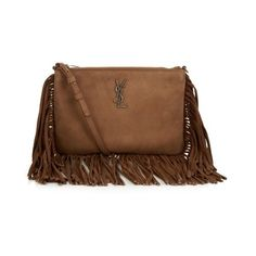 Saint Laurent Monogram fringed suede cross-body bag ($557) ❤ liked on Polyvore featuring bags, handbags, shoulder bags, light tan, crossbody handbags, fringe crossbody, brown suede handbag, brown crossbody and brown fringe purse
