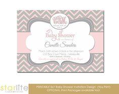 Monogram Baby Girl Shower Invitation Chevron Pink and by starwedd