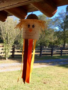 My favorite fall time scarecrow coffee can windsock. Love seeing them flutter on…