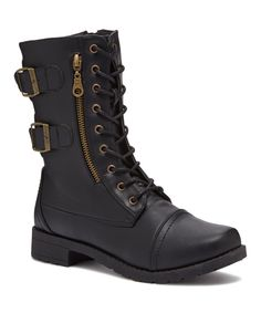 Another great find on #zulily! Chatties Black Side Zip Combat Boot by Chatties #zulilyfinds