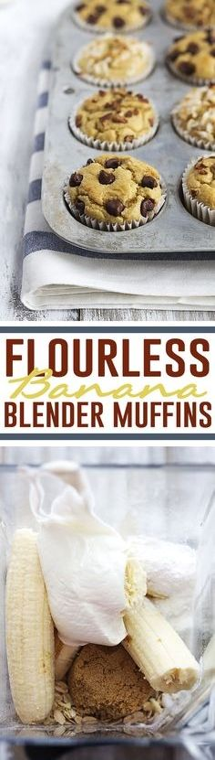Moist and fluffy flourless banana blender muffins! They are SO easy to whip up in your blender and you can add all of your favorite mix-ins like nuts, coconut flakes, cinnamon, or chocolate chips!