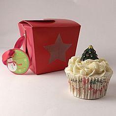 Cupcake Gift, Cupcake Boxes, Wedding Cupcakes, Mini Cupcakes, Beautiful Cupcakes, Christmas Cupcakes, Tree Designs, Green Trees, Christmas Baking