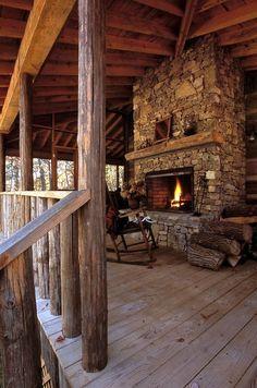 Big Rustic Outdoor Fireplace
