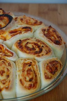 Pizza Roll Pizza - make your favorite pizza, roll, slice, put rolls in an oiled pie dish and bake :)