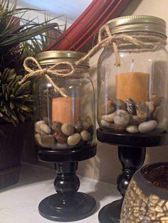 Mason Jar Decor, minus candle, add a pine cone or acorns. Use a ribbon instead…