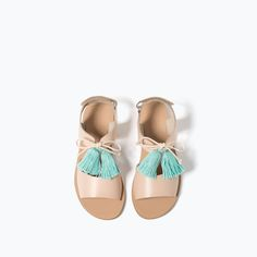 LEATHER POMPOM SANDALS-SHOES-GIRL | 4-14 years-KIDS | ZARA United States