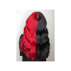 half and half hair, bright colours, manic panic, red, black Hairstyle Ideas, Hair Ideas, Red Black, Black Hair, Lvl Lashes, Half And Half Hair, Keratin Complex, Hair And Beauty Salon, Coloured Hair