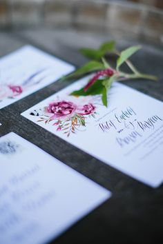 Bohemian Floral Wedding Invitation Suite with stunning pink flowers and calligraphy style font