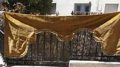 antique French chateau portiere, pelmet, hanging, velvet