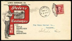 Peters Cartridges. Black & red design on 1904 cover showing Hunter and Bear, franked with 1902 2c tied by Bessemer, Ala. duplex cancel, reve...