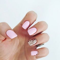 pastel pink and gold glitter nails