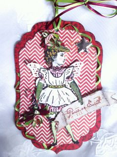 Christmas Paper Doll Angel Orament Tag Articulated by ParisPluie