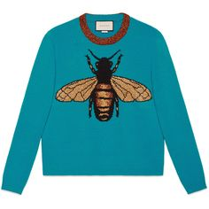Gucci Bee Wool Knit Sweater (10.125 NOK) ❤ liked on Polyvore featuring tops, sweaters, shirts, jumper, outerwear, turquoise, knit crew neck sweater, crewneck sweaters, gucci and blue sweater