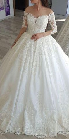 Alluring Tulle Jewel Neckline Long Sleeves Ball Gown Wedding Dress With Lace App., Tulle Jewel Neckline Long Sleeves Ball Gown Wedding Dress With Lace Appliques & Beadings. Wedding Dress Cinderella, Princess Wedding Dresses, Wedding Dresses Plus Size, Dream Wedding Dresses, Long Sleeve Wedding, Wedding Dress Sleeves, Cheap Wedding Dress, Gown Wedding, Tulle Wedding