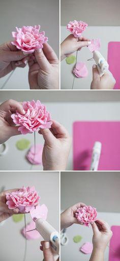 how to make a felt peony flower: