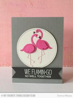 Tickled Pink, Pinstripe Background, Cross-Stitch Circle Die-namics, Flamingos Die-namics - Donna Mikasa  #mftstamps