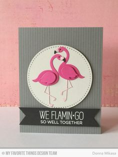 Tickled Pink, Pinstripe Background, Cross-Stitch Circle Die-namics, Flamingos Die-namics - Donna Mikasa #mftstamps