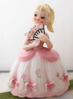 Vintage Blonde Girl Planter Ceramic Pink Dress Flower Cinderella Vase Japan