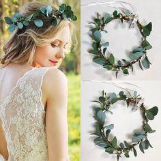 Flower crown eucalyptus Boho Wedding Green Flower Crown