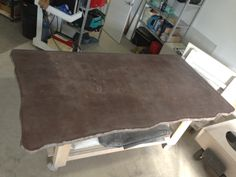Leather look 9 X 5 Concrete Island top, split edge Islands, Concrete, Dining Table, Leather, Top, Furniture, Home Decor, Spinning Top, Homemade Home Decor