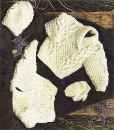 PDF Digital Vintage Knitting Pattern Baby Toddler Child s Aran Jacket Sweater Cap and Mittens Chest 16 - 30 Aran Yarn