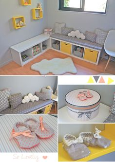 Nursery/ Baby girl Room in Yellow, Grey & Coral Chambre bébé fille en jaune, g… Nursery / Baby Girl Room in Yellow, Gray & Coral Baby Girl Room in Yellow, Gray and Coral Baby Bedroom, Nursery Room, Girl Nursery, Girl Room, Girls Bedroom, Bedroom Decor, Bedroom Yellow, Bedroom Ideas, Coral Baby Rooms