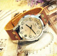 Vintage wrist watch — Vintage Leather Watch Retro Style Studded Wrist Watch Cartoon (WAT0016)