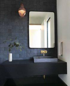 Ideas for the bathroom: 55 blue bathroom design ideas … - Bathroom Blue Bathrooms Designs, Dark Bathrooms, Bathroom Taps, Bathroom Fixtures, Amazing Bathrooms, Bathroom Interior, Small Bathroom, Bathroom Modern, Minimalist Bathroom