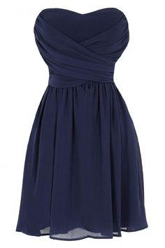Short Navy Chiffon Dress on Luulla
