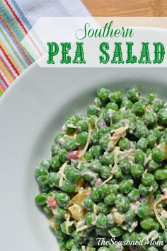 This sweet pea salad is the perfect side dish for spring, kept healthy with the addition of Greek yogurt. It's so tasty that even non-pea-lovers (like my husband) LOVE it!