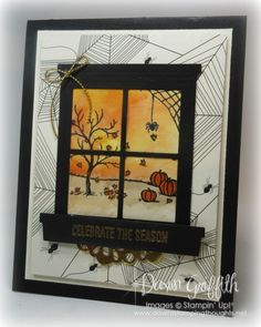 stampin up happy scenes Halloween Scrapbook, Up Halloween, Halloween Cards, Fall Cards, Holiday Cards, Christmas Cards, Card Making Inspiration, Making Ideas, Window Cards