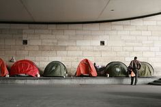 Under the bridge--these tents are given out to the sans-abri (homeless) in cold weather by charity groups