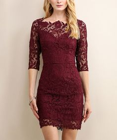 This Soiéblu Sangria Wine Floral-Lace Three-Quarter Sleeve Dress by Soiéblu is… - All About Clothes Wine Dress, Dress Up, Dress Lace, Pretty Dresses, Beautiful Dresses, Maroon Lace Dress, Maroon Dress Outfit, Navy Lace, Homecoming Dresses