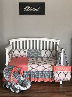 nursery set Fawn in the Tulip stag deer fabric gray arrows & Coral minky dots crib set bumpers, blanket, skirt, diaper bag carseat cover - Modern Baby Nursery Diy, Deer Nursery, Baby Bedroom, Baby Room Decor, Nursery Room, Girl Nursery, Girl Room, Diy Baby, Baby Girl Nurserys