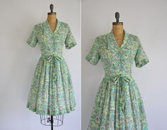 50s dress / vintage 50s green floral cotton by simplicityisbliss, $88.00