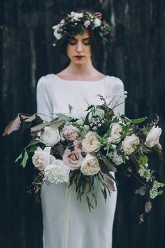 Bouquet Whimsical Large Foliage Roses Soft Natural Woodland Wedding Ideas http://www.matthoranphotography.com/