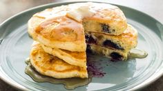 For our best blueberry pancake recipe, we started with perfect batter: extra sweetness, both baking powder and soda for lift and color, just one egg, and plenty of melted butter.