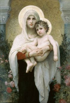 off Hand made oil painting reproduction of The Madonna of the Roses, one of the most famous paintings by William-Adolphe Bouguereau. The French painter William-Adolphe Bouguereau concluded the artwork entitl. William Adolphe Bouguereau, Blessed Mother Mary, Blessed Virgin Mary, Divine Mother, Queen Mother, Religious Icons, Religious Art, Religious Paintings, Musikfestival Poster