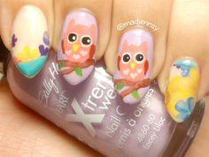 Cute Pink Owl Nail Art With Flowers by @madjennsy via @nailartgallery #nailartgallery #nailart #nails #handpainted #tutorial #naildesign #stilettonails #cutenails #owlnailart #madjennsy
