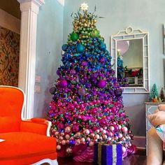 Are you looking for images for farmhouse christmas decor? Check out the post right here for unique farmhouse christmas decor pictures. This amazing farmhouse christmas decor ideas appears to be totally brilliant. Rainbow Christmas Tree, Whimsical Christmas Trees, Ribbon On Christmas Tree, Christmas Tree Themes, Xmas Tree, Christmas Home, Christmas Tree Decorations, Peacock Christmas Tree, Red Tree