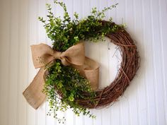 Boxwood wreath with large burlap bow. summer wreath.fall wreath.boxwood wreath.wreath for door.