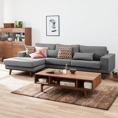 Ecksofa Billund - Webstoff - Longchair davorstehend links - Hellgrau