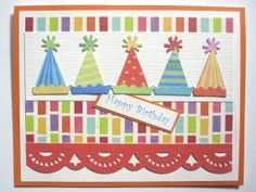 handmade birthday hat card | Handmade Birthday card party hats can be PERSONALIZED