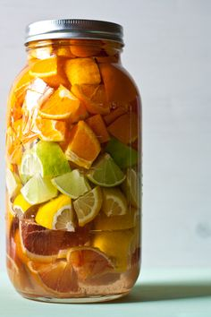 Mixed Citrus Liqueur…(Says ready in 3 days but I would let it sit for a while. I can see this with any number of combinations of citrus fruit).