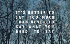 it's better to say too much than to never say what you need to say. - john mayer, say